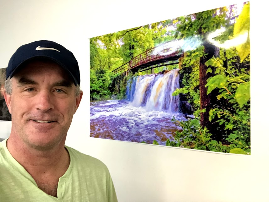 Tex with Blue Mountain Reservation Waterfall Poster (24x36 poster shown)