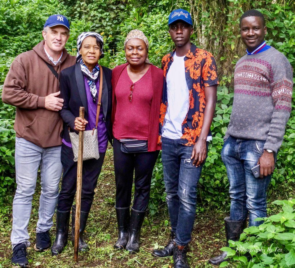 Tim, Celia, Teina, Josh Kasaija, and Paul Collins team bonding on a nature walk