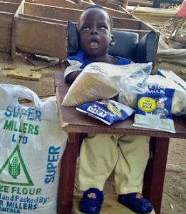 Isaac Ebiru, Age 5 mo, CP Chair, Were Village, Amuria Town, Soroti District, Uganda, Cerebral Palsy