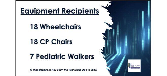 43 Equipment Recipients - 18 Wheelchairs - 18 CP Chairs - 7 Pediatric Walkers